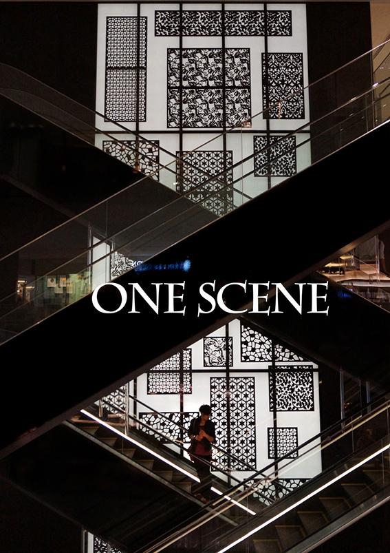 戸田由美子 情景ポスター展「階段に佇む若い男性」